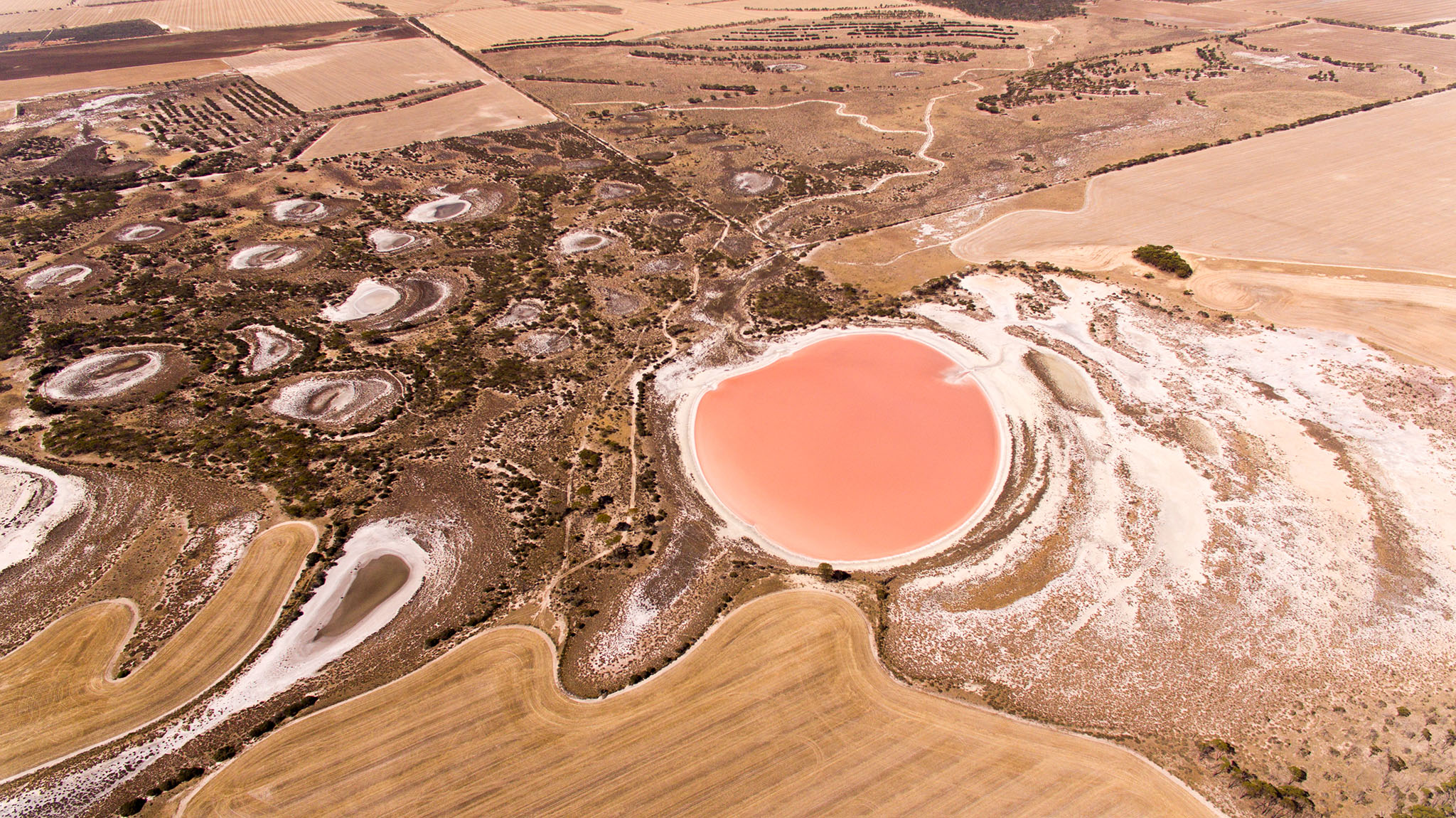 A pink salt lake creates a striking impact in this aerial landscape photo by Caro Telfer, photographer.