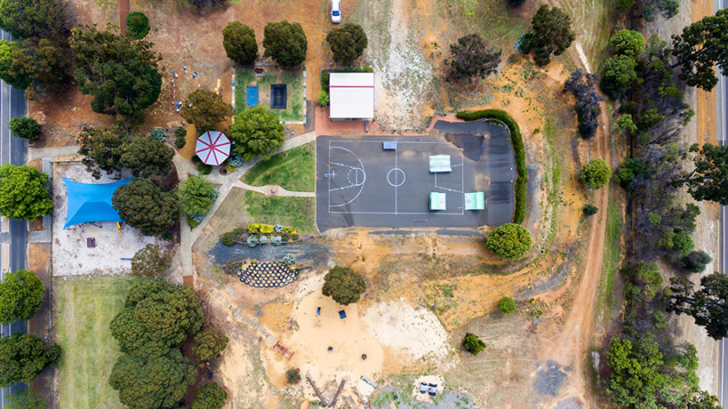 Aerial view of Darkan skatepark, taken by drone, by Caro Telfer.