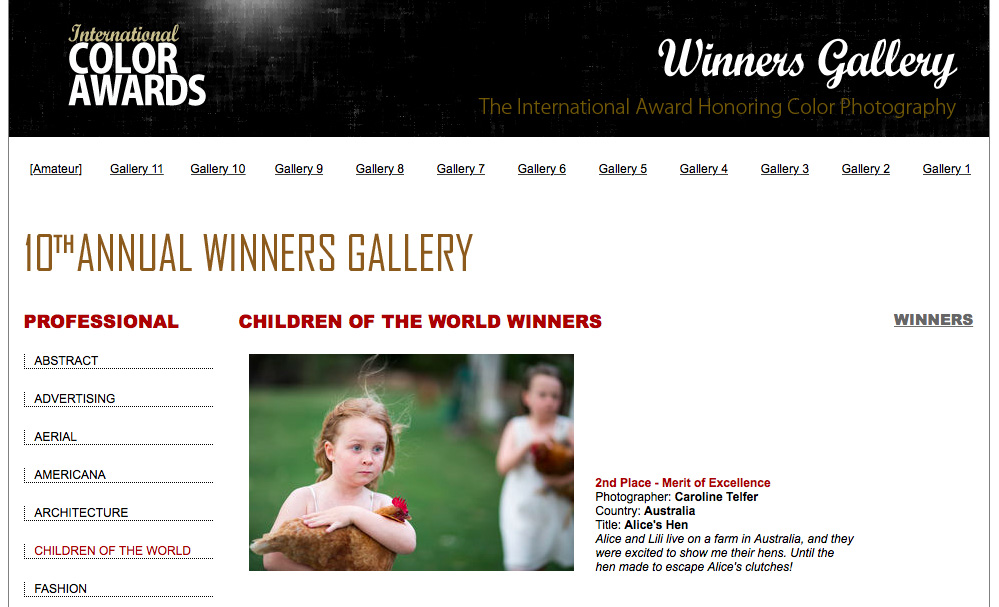 Screenshot of International Colour Awards website showing Alice's Hen, photo by Caro Telfer