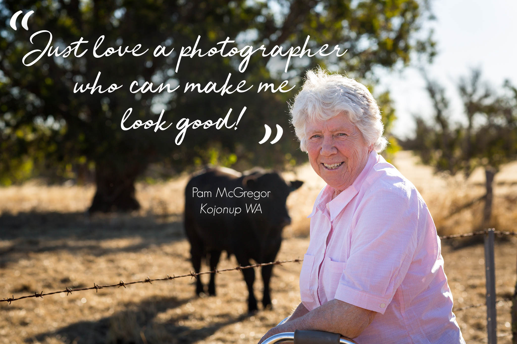 "image of older lady on cattle farm with quote ""Just love a photographer who can make me look good!"" Photo by Caro Telfer"