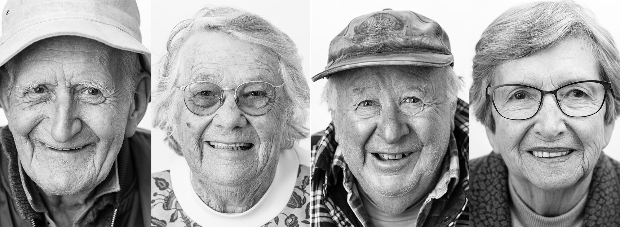 Four black and white portraits of senior citizens, photographed by Caro Telfer.