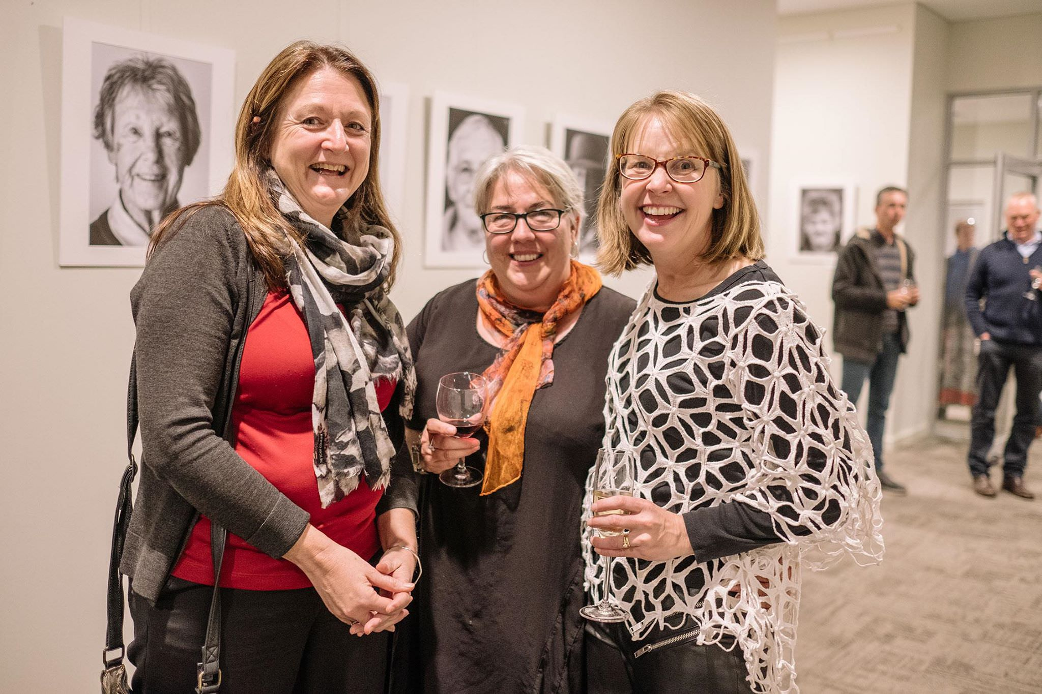Nicole Wasmann, Caro Telfer, and Kerryn Chia at the Faces of West Arthur exhibition in Darkan
