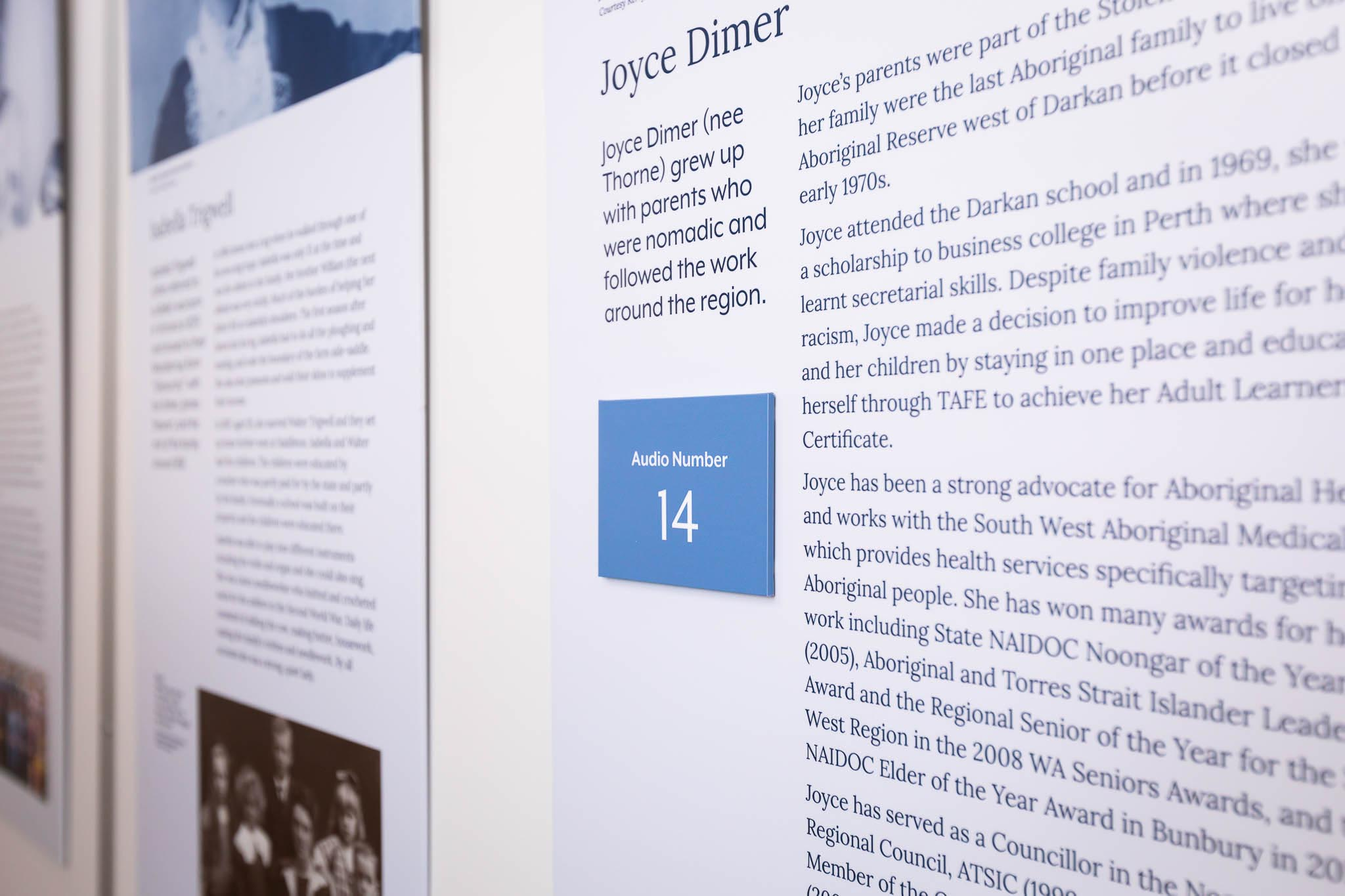 Close up of information panels in the Betty Brown Historical Centre.
